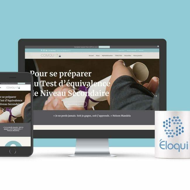 Capture d'écran du site Web de l'entreprise Comquat que nous avons réalisé