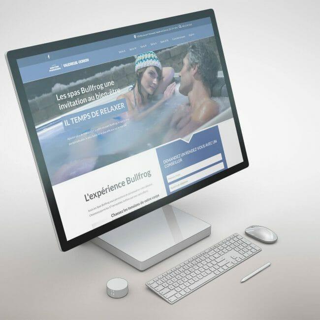 Capture d'écran du site Web de Maitre Piscinier Bullfrog que nous avons réalisé