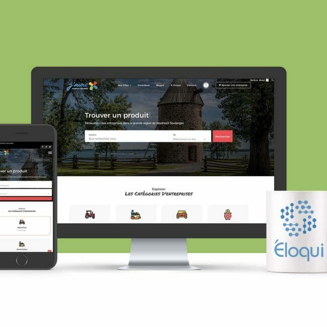 Capture d'écran du site Web J'aime Vaudreuil-Soulanges qui favorise l'Achat Local dans Vaudreuil-Soulanges