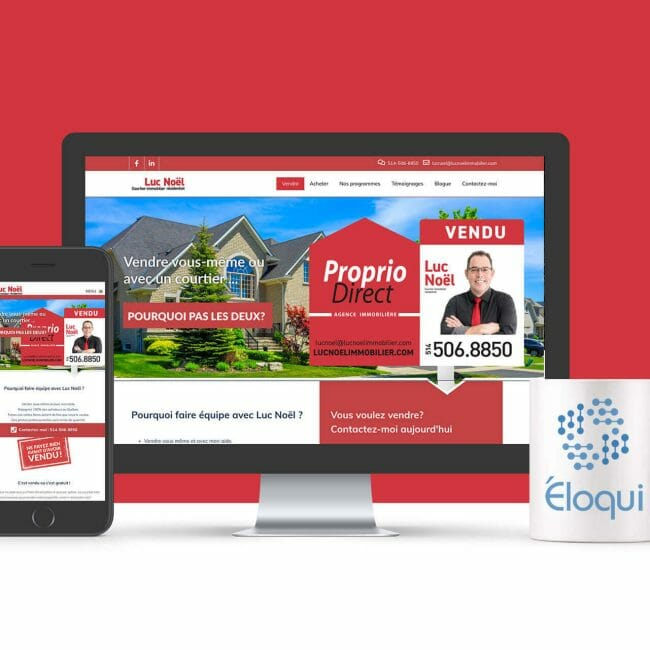 Capture d'écran du site Web du Courtier Luc Noël de Proprio Direct que nous avons créé