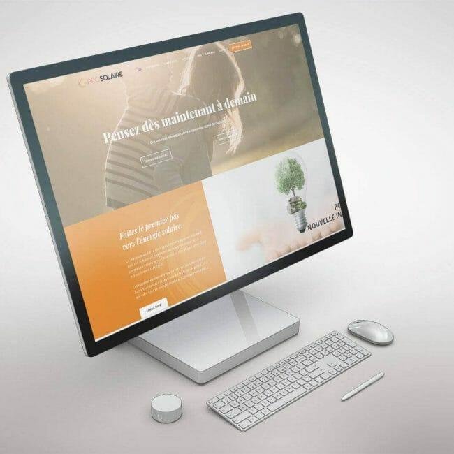 Capture d'écran du site Web de l'entreprise Prosolaire que nous avons réalisé