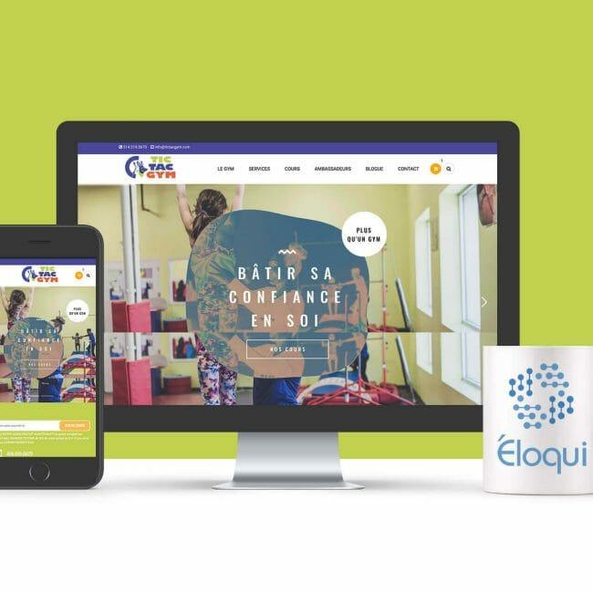 Capture d'écran du site Web du Tic Tac Gym que nous avons réalisé